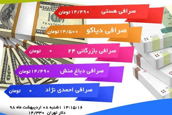 قیمت دلار یکشنبه ۱۳۹۸/۰۲/۰۸