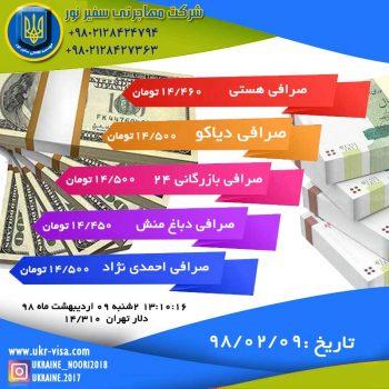 قیمت دلار دوشنبه 1398/02/09
